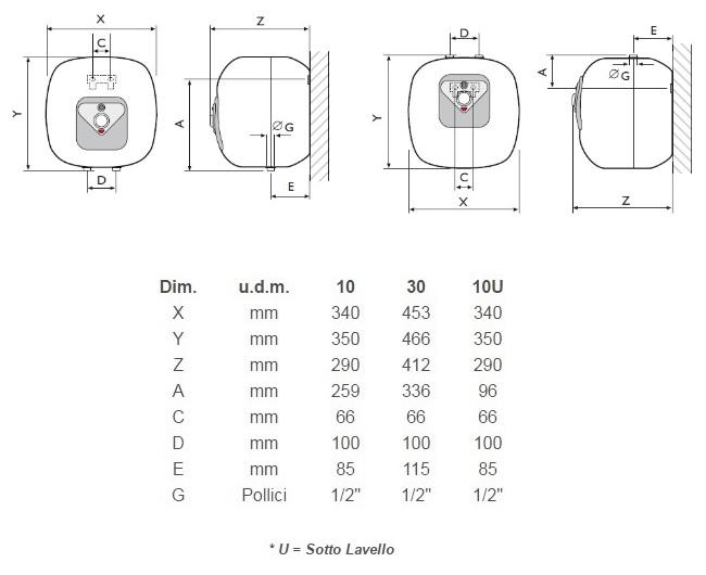 Scaldabagno elettrico sotto lavello isea mini swing 10 litri acquista online - Scaldabagno piccolo ...