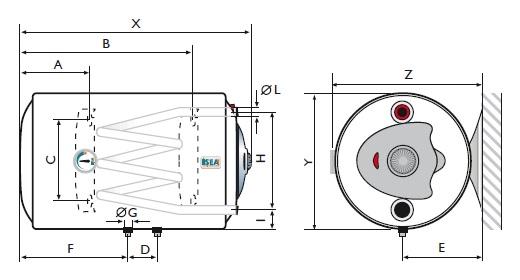 Scaldabagno termoelettrico isea 80 litri orizzontale sinistro acquista online - Come funziona lo scaldabagno elettrico ...